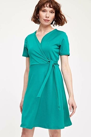 DeFacto Kruvaze Yaka Elbise Yeşil
